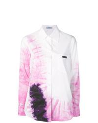 Chemise de ville imprimée tie-dye blanche Prada