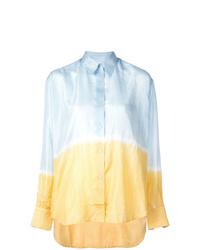 Chemise de ville imprimée tie-dye bleu clair