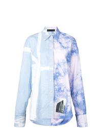 Chemise de ville imprimée tie-dye bleu clair Proenza Schouler