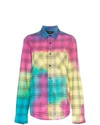 Chemise de ville imprimée tie-dye multicolore
