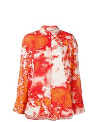 Chemise de ville imprimée tie-dye orange MSGM