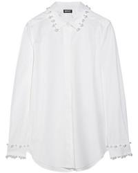 Chemise de ville ornée blanche DKNY