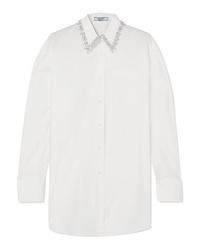 Chemise de ville ornée blanche Prada