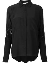 Chemise de ville ornée noire