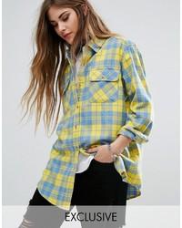 Chemise écossaise jaune Reclaimed Vintage
