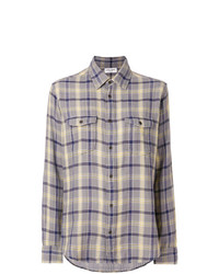 Chemise en jean à carreaux grise Saint Laurent