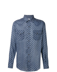 Chemise en jean à étoiles bleue Saint Laurent