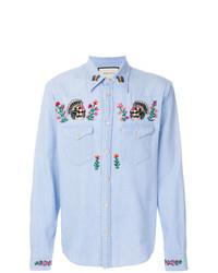 Chemise en jean à fleurs bleu clair Gucci