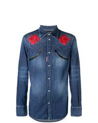 Chemise en jean à fleurs bleue
