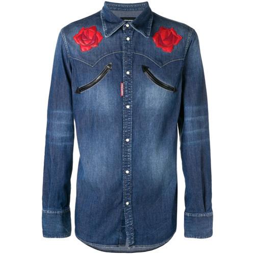 Chemise en jean à fleurs bleue DSQUARED2