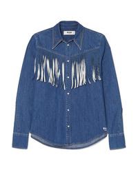 Chemise en jean à franges bleue MSGM