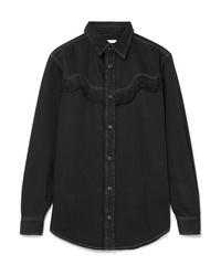 Chemise en jean à franges noire Ganni