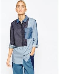 Chemise en jean à patchwork bleue Asos