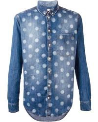 Chemise en jean á pois bleu marine MSGM