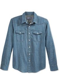 Chemise en jean á pois bleue