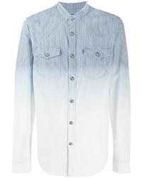 Chemise en jean à rayures verticales bleu clair Balmain