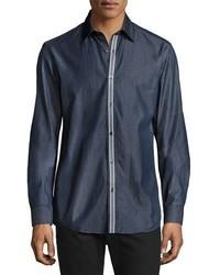 Chemise en jean à rayures verticales bleu marine