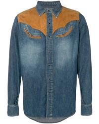 Chemise en jean bleu canard Saint Laurent