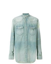 Chemise en jean bleu clair Balmain