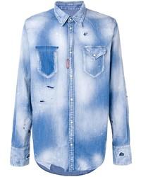 Chemise en jean bleu clair DSQUARED2