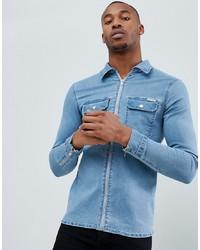 Chemise en jean bleu clair Liquor N Poker