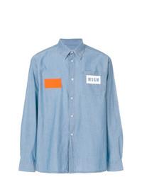 Chemise en jean bleu clair MSGM