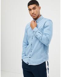 Chemise en jean bleu clair Pull&Bear