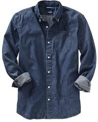Chemise en jean bleu marine