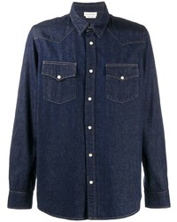 Chemise en jean bleu marine Alexander McQueen