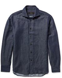 Chemise en jean bleu marine Brioni