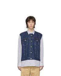 Chemise en jean bleu marine Junya Watanabe