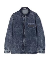 Chemise en jean bleu marine Miu Miu