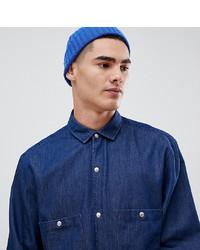 Chemise en jean bleu marine Noak