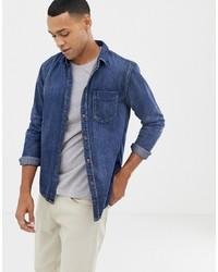 Chemise en jean bleu marine Nudie Jeans