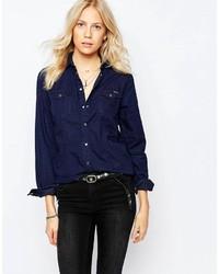 Chemise en jean bleu marine Pepe Jeans