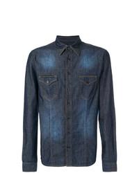 Chemise en jean bleu marine Philipp Plein