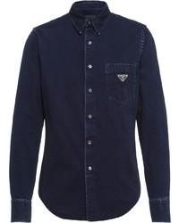 Chemise en jean bleu marine Prada