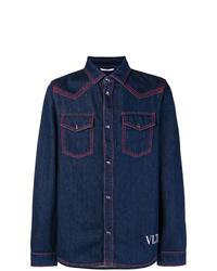 Chemise en jean bleu marine Valentino