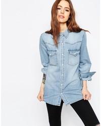 Chemise en jean bleue claire Asos