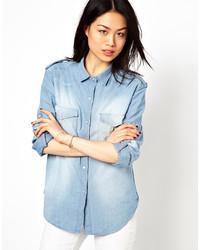 Chemise en jean bleue claire