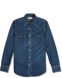 Chemise en jean bleue marine Saint Laurent