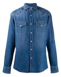 Chemise en jean bleue Brunello Cucinelli