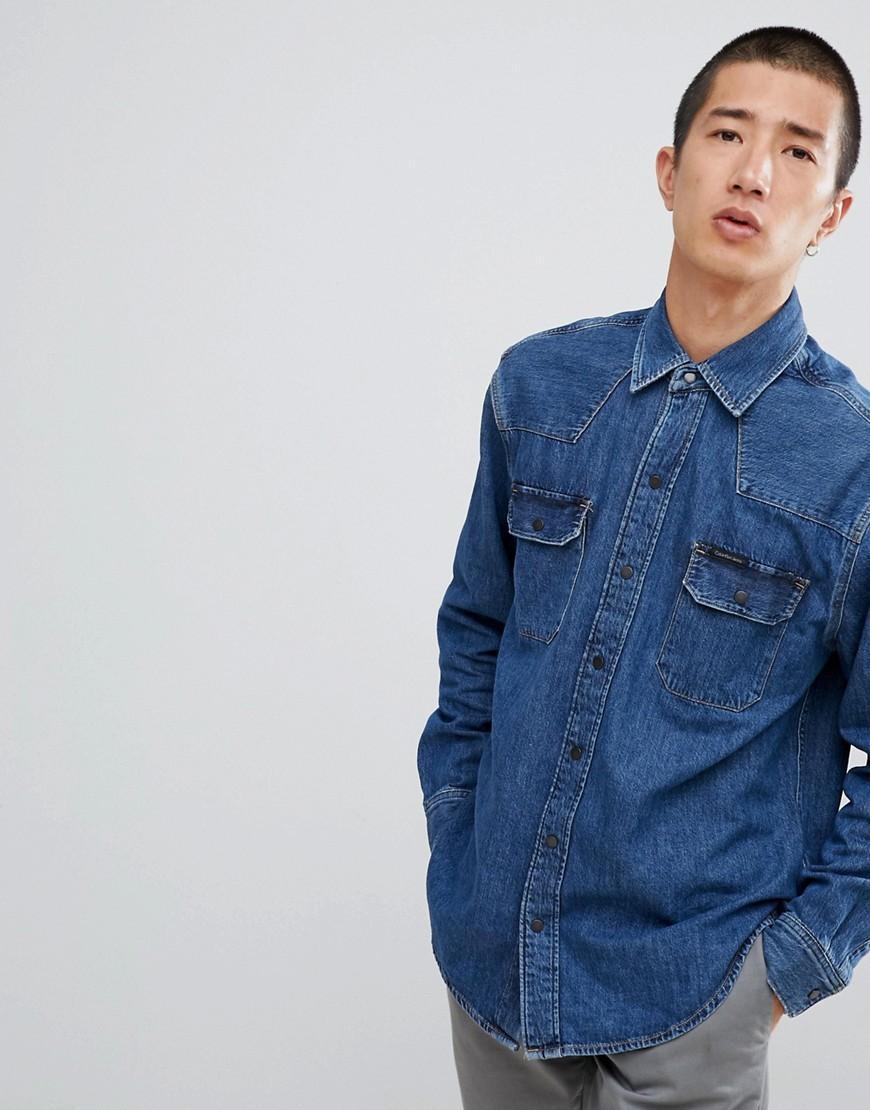 Chemise en jean bleue Calvin Klein