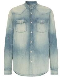 Chemise en jean brodée bleu clair Balmain