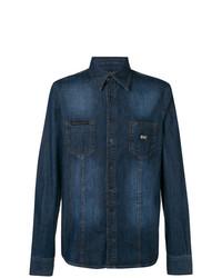 Chemise en jean brodée bleu marine Philipp Plein
