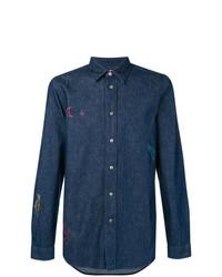 Chemise en jean brodée bleu marine Ps By Paul Smith