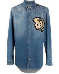 Chemise en jean brodée bleue Balmain