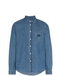 Chemise en jean brodée bleue Kenzo