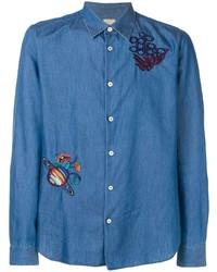 Chemise en jean brodée bleue Paul Smith