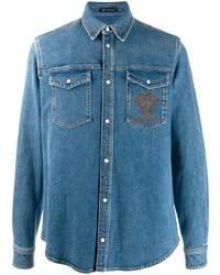 Chemise en jean brodée bleue Versace